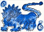 Marco DEL RE, BESTIAIRE - LEO FELIX, 2009. Lithographie originale, 76 x 56 cm. Signé et numéroté (75 exemplaires).